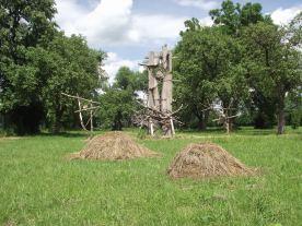 Stary sad (2015) instalacja Land Art w Hołownie, wiosna, lato, jesień, zimaw Krainie Rumianku, Sławek Matyjaszewski